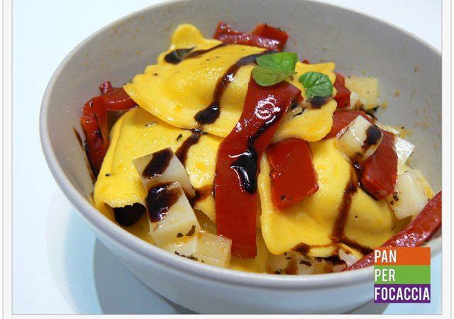 Ravioli ai carciofi con peperoni e formaggio Piave