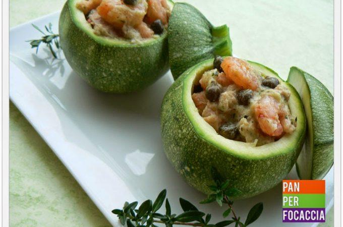 Zucchine ripiene di tonno e gamberetti